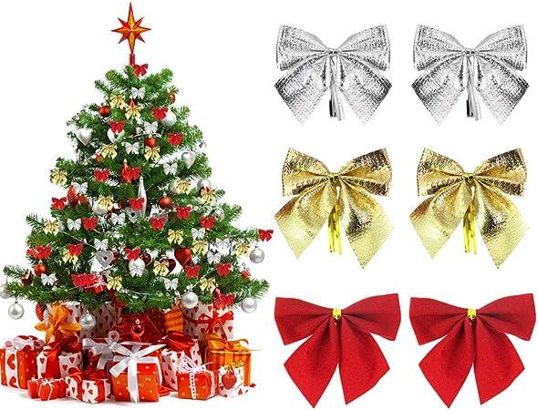 Cadeau D/écoration Guirlande de No/ël Arc de No/ël Ruban Arc pour Sapin de No/ël Or, Taille M, 48 Pi/èces