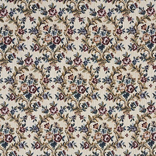 F659 Beige Red and Green Floral Vine Tapestry Upholstery Fabric by The - Upholstery Tapestry Fabric