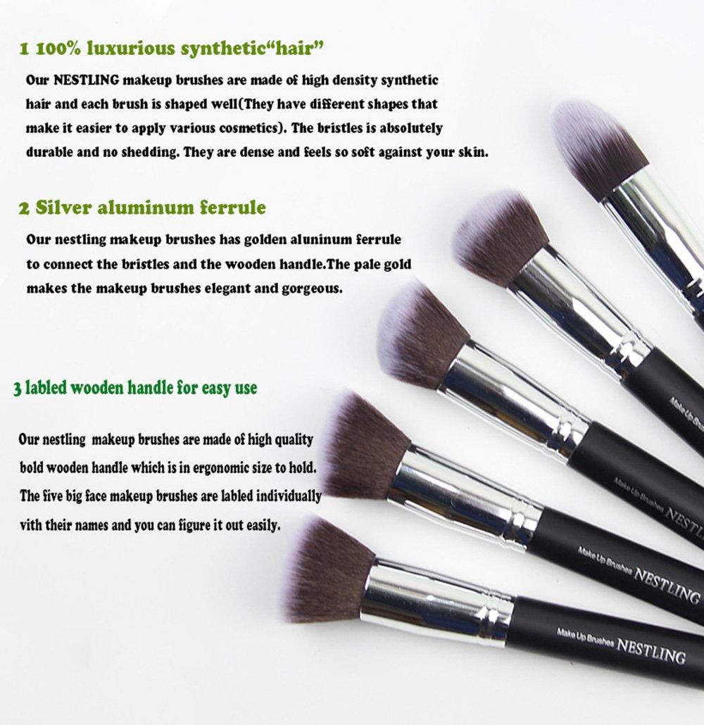 types of makeup brushes. amazon.com: nestling makeup brushes premium cosmetics brush set synthetic kabuki brush, foundation, blending blush, eyeliner, face powder types of