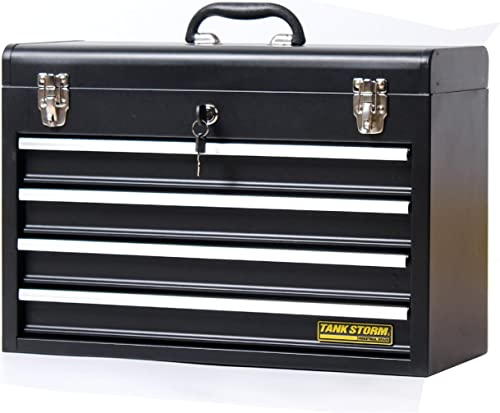 TANKSTORM Portable Steel Tool Chest with Drawers,20.6 4-Drawer Box Storage Organizer Cabinet Metal Toolbox with Ball Bearing Slides, Black X4