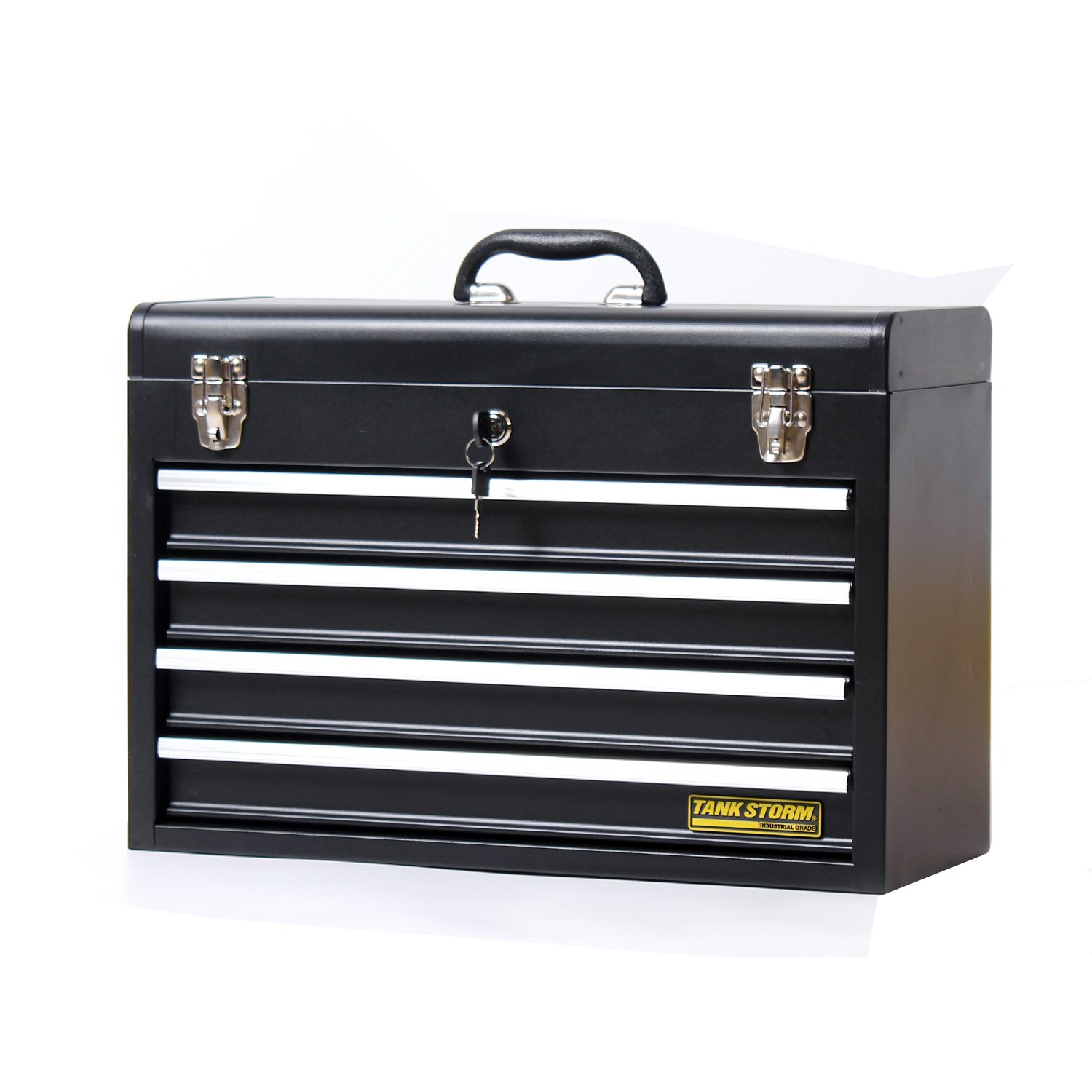 TANKSTORM Portable Steel Tool Chest with Drawers,20.6'' 4-Drawer Box Storage Organizer Cabinet Metal Toolbox with Ball Bearing Slides, Black(X4) by TANKSTORM