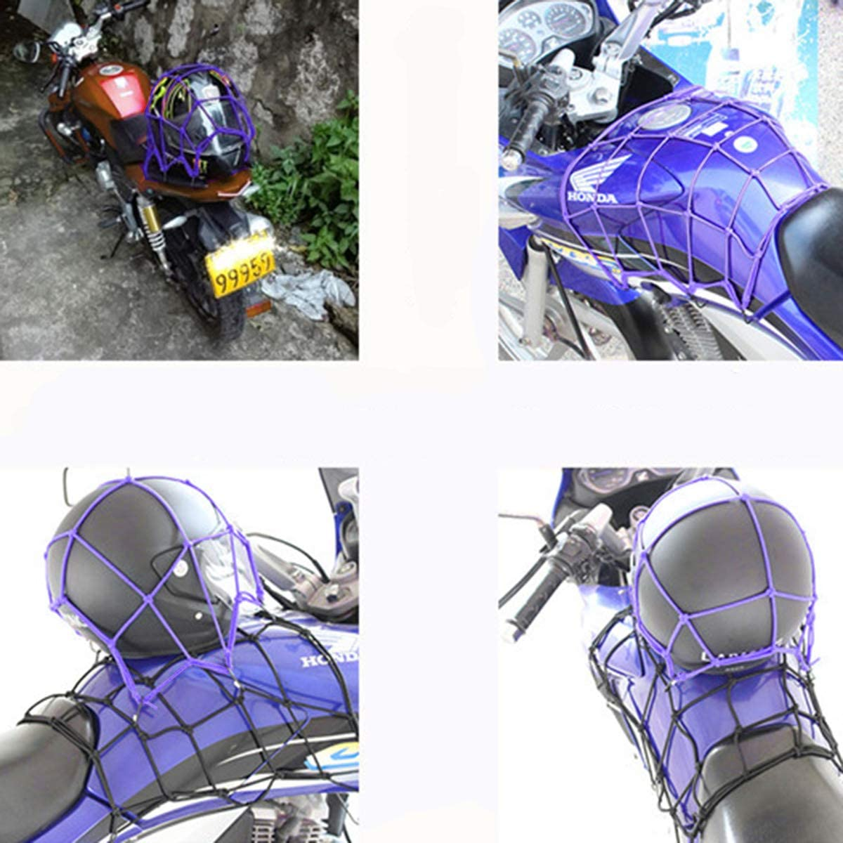 Motorcycle Bicycle Rear Frame Net Luggage Cover Band Luggage Elastic Top D6D9