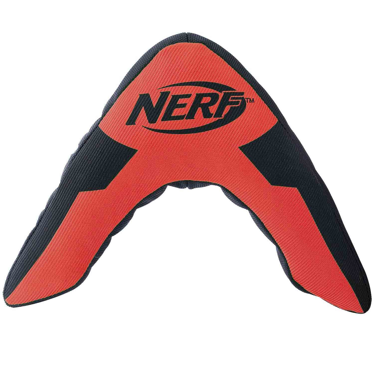 Nerf Dog Trackshot Boomerang Plush Squeaker Dog Toy, Medium/Large, Red