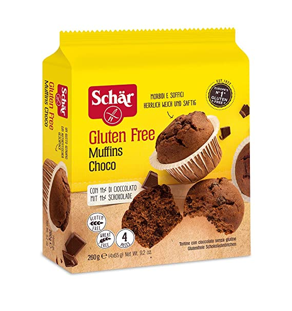Dr. Schar Muffin Magdalenas de chocolate SIN GLUTEN - Paquete de 4 x 65 gr