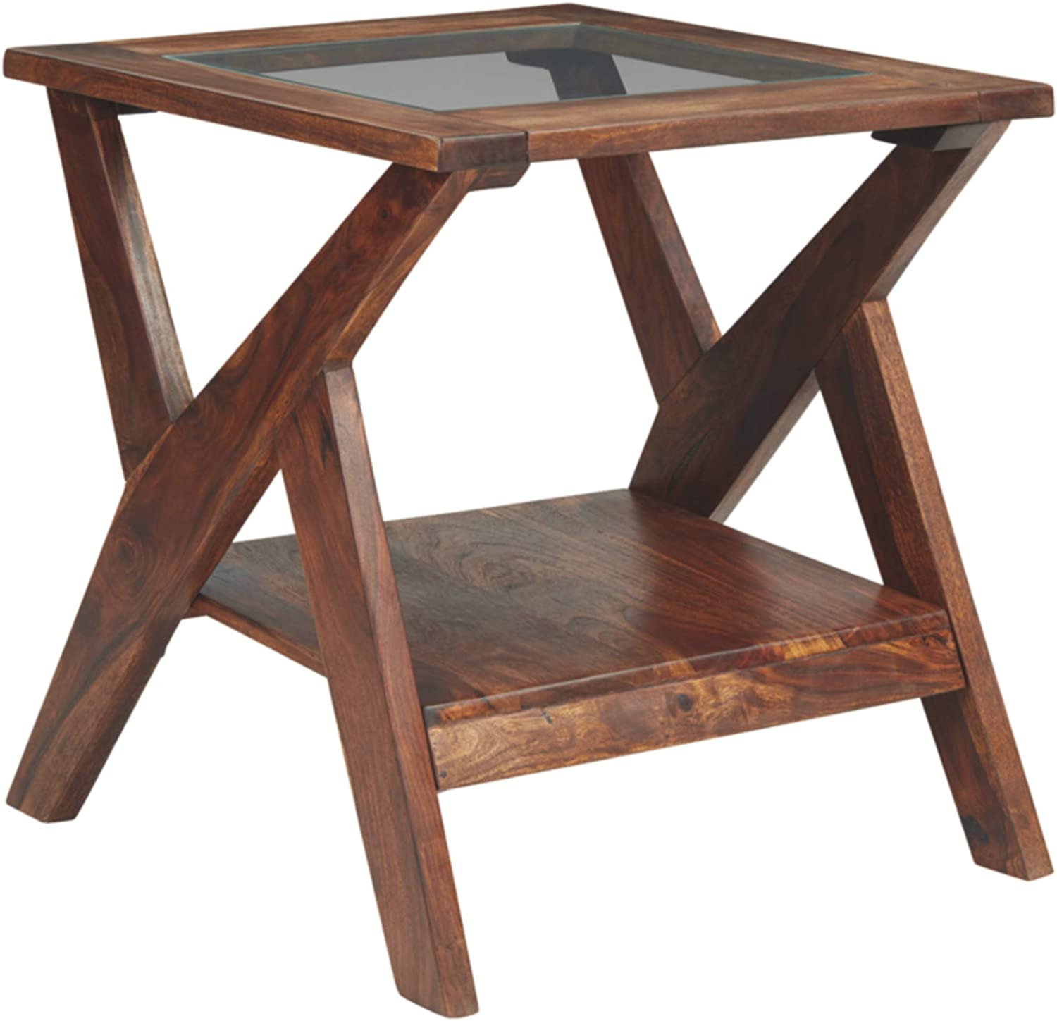 Signature Design by Ashley - Charzine Rectangular Wood End Table, Warm Brown