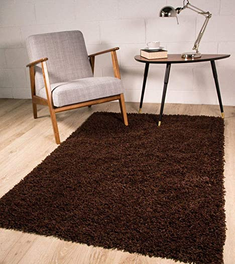 Stockholm Luxury Chocolate Brown Dense Pile Soft Shaggy Shag Area Rug 5'11″ x 8'11″