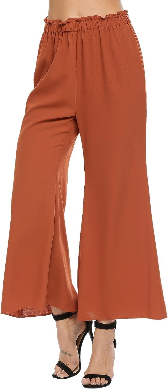 Zeagoo Women Ruffle Elastic Waist Flare Wide Leg Culottes Long Palazzo Pants