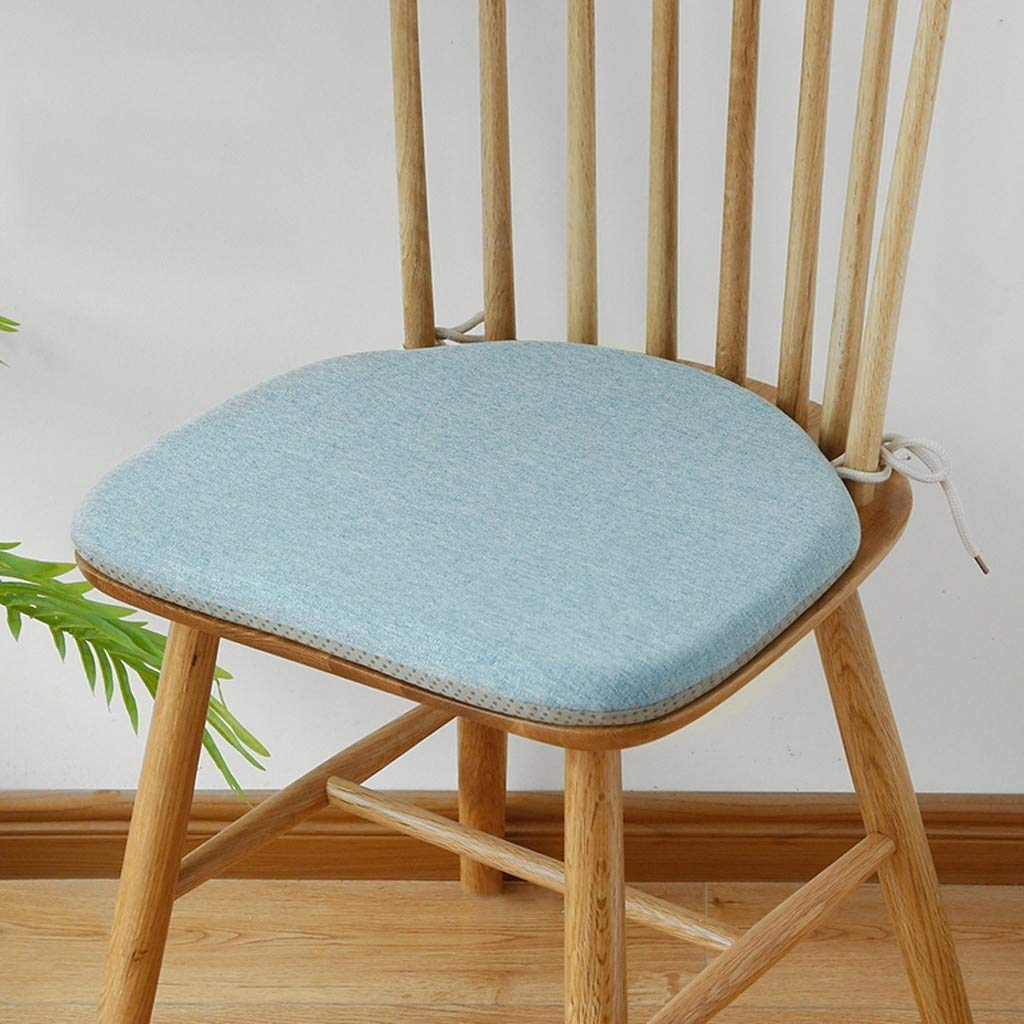 Ace Dzdd Horseshoe-Shaped Dining Table and Chair Cushion, Linen Windsor Chair with Strap Anti-Slip Cushion, High Rebound Memory Foam Core Filled Cushion (Color : Blue) by Ace Dzdd