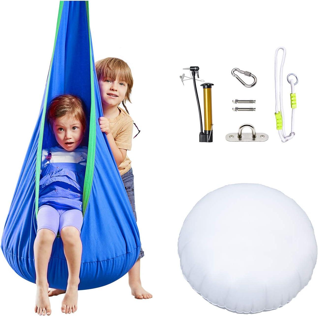 Amazon Com Happy Pie Play Adventure Kids Pod Swing Chair Child Hanging Chair Indoor And Outdoor Sensory Hammock Blue Garden Outdoor