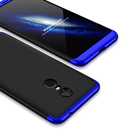 official photos 994d8 f8a30 Bounceback ® Xiaomi Mi Redmi Note 5 Case 3 in1 360º Anti Slip Super Slim  Back Cover for Mi Redmi Note 5 (Black & Blue)