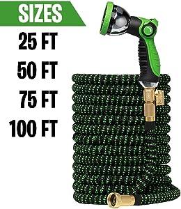 GreenFriendlyHome Garden Hose Expandable Hose - Flexible Water Hose Expanding | Strongest Hose Fabric + Multi Latex Core | Solid Brass Fittings Metal Nozzle (100FT)