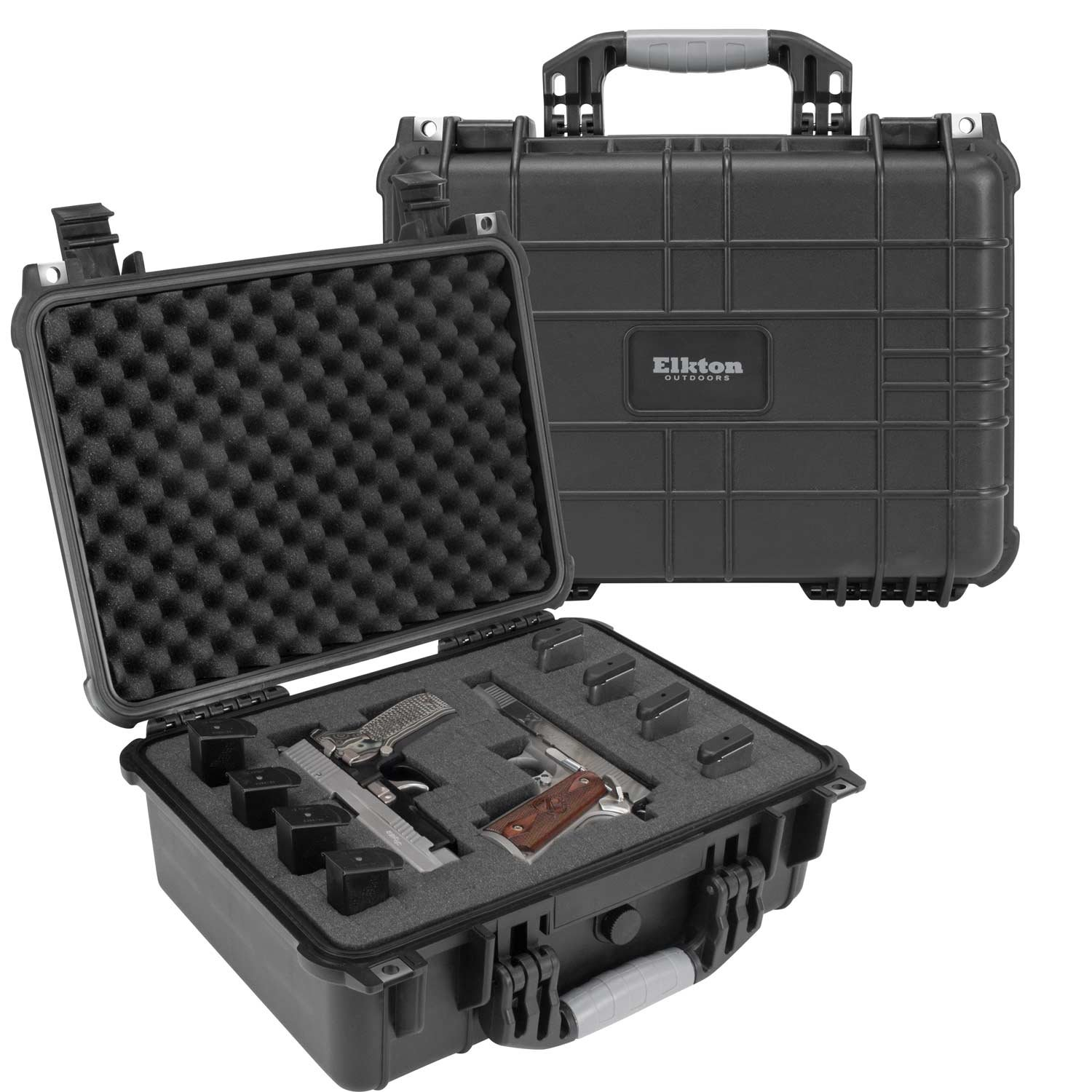 Elkton Outdoors Hard Gun Case: Fully Customizable Pistol Case: Holds 4 Handguns and 8 Magazines: Crush Resistant & Waterproof! by Elkton Outdoors (Image #1)