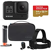 GoPro HERO8 Black Camera with Official GoPro Adventure Kit (Includes Headstrap, Quickclip, Floaty Hand Grip, and Compact Case) and 64GB Sandisk SD Card