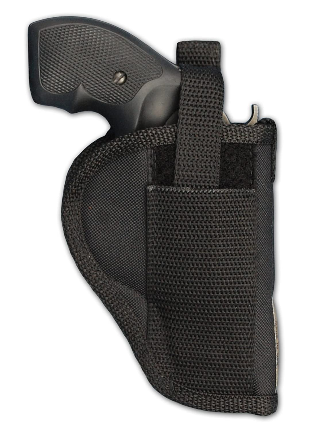 Barsony Holsters and Belts Charter Arms Colt Ruger S&W Taurus Small/Medium .22 .38 .44 .357 Revolver Draw Outside The Waist Band, Black, Right Hand, Size 3 Barsony Holsters & Belts 53-2-Size3