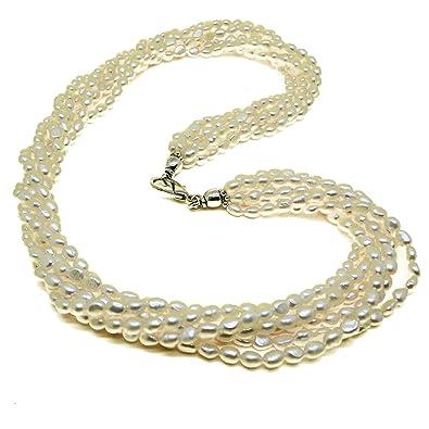 4bd6242869f7 El Coral Collar Perlas Blancas Botón Ovales 5 6mm con 6 Tiras  Amazon.es   Joyería