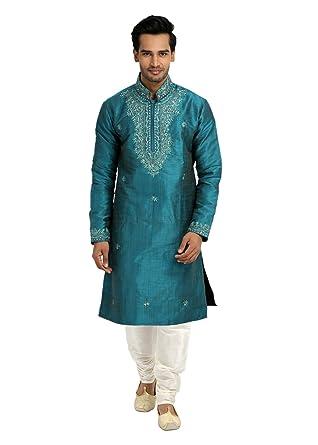 61b6e542cb Amazon.com: Saris and Things Light Blue Kurta Pajama Sherwani - Indian  Ethnic Wear for Men: Clothing