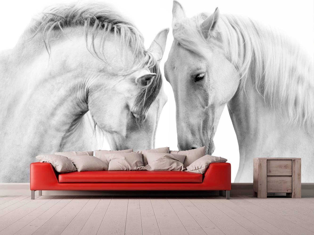 Fotomural Vinilo para Pared Caballos Blancos | Fotomural para Paredes | Mural | Vinilo Decorativo | Varias Medidas 150 x 100 cm | Decoración comedores, Salones, Habitaciones.