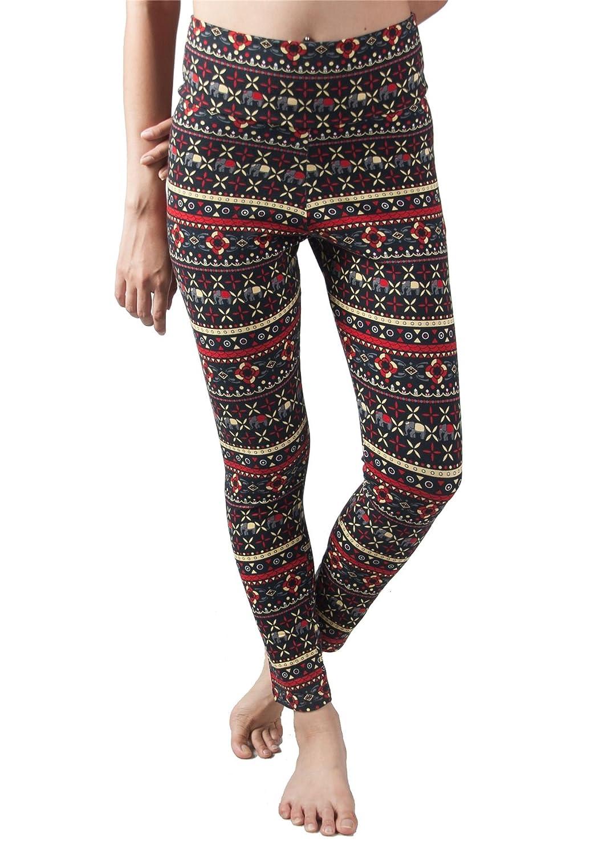 Lofbaz Women's Fold Over Waistband Printed Yoga Pants