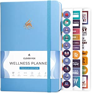 Clever Fox Wellness Journal - Weekly & Daily Health and Wellness Log, Food Journal & Meal Planner Diary for Calorie Counting, Notebook for Medical Condition Tracking, A5-Sized - Light Blue