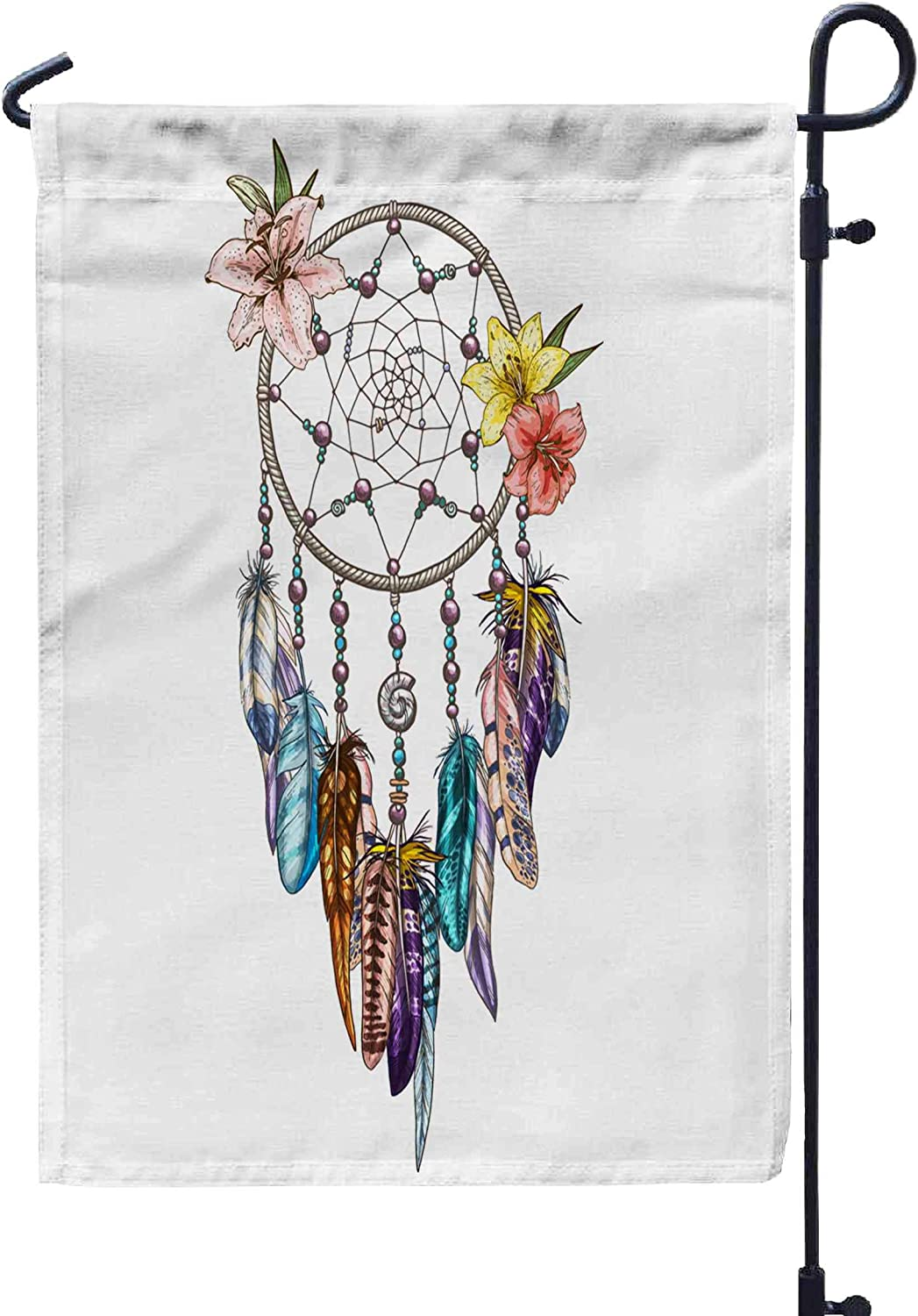 GROOTEY Welcome Outdoor Garden Flag Home Yard Decorative 12X18 Inches Native Symbol Dream Catcher Lilies Color Feather Double Sided Seasonal Garden Flags