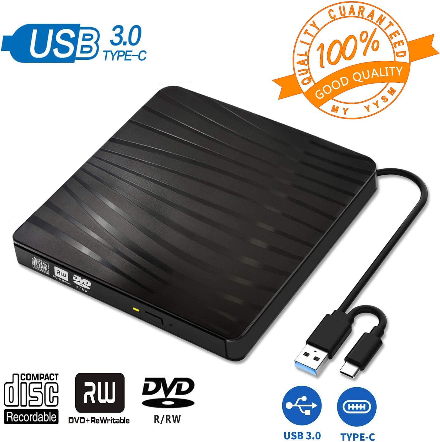 BDYING USB 3.0 External DVD Drive,Portable Slim USB 3.0&USB-C CD DVD +/-RW Drive Burner CD/DVD Player Writer,High Speed Transfer for Laptop MacBook Desktop iMac Mac OS Windows XP/7/8/10/Vista(Black)