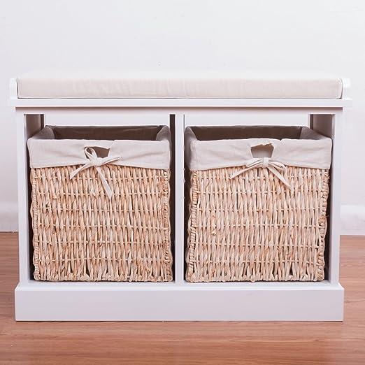BTM 2 Seater Wooden Storage Bench Seagrass Wicker Storage Baskets In White 2  Drawers Cabinet Farmhouse: Amazon.co.uk: Kitchen U0026 Home