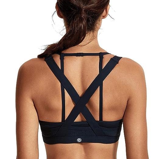 46350d5108c CRZ YOGA Women s Light Support Sports Bra Wirefree Cross Back Yoga Bra Top  Black-H156