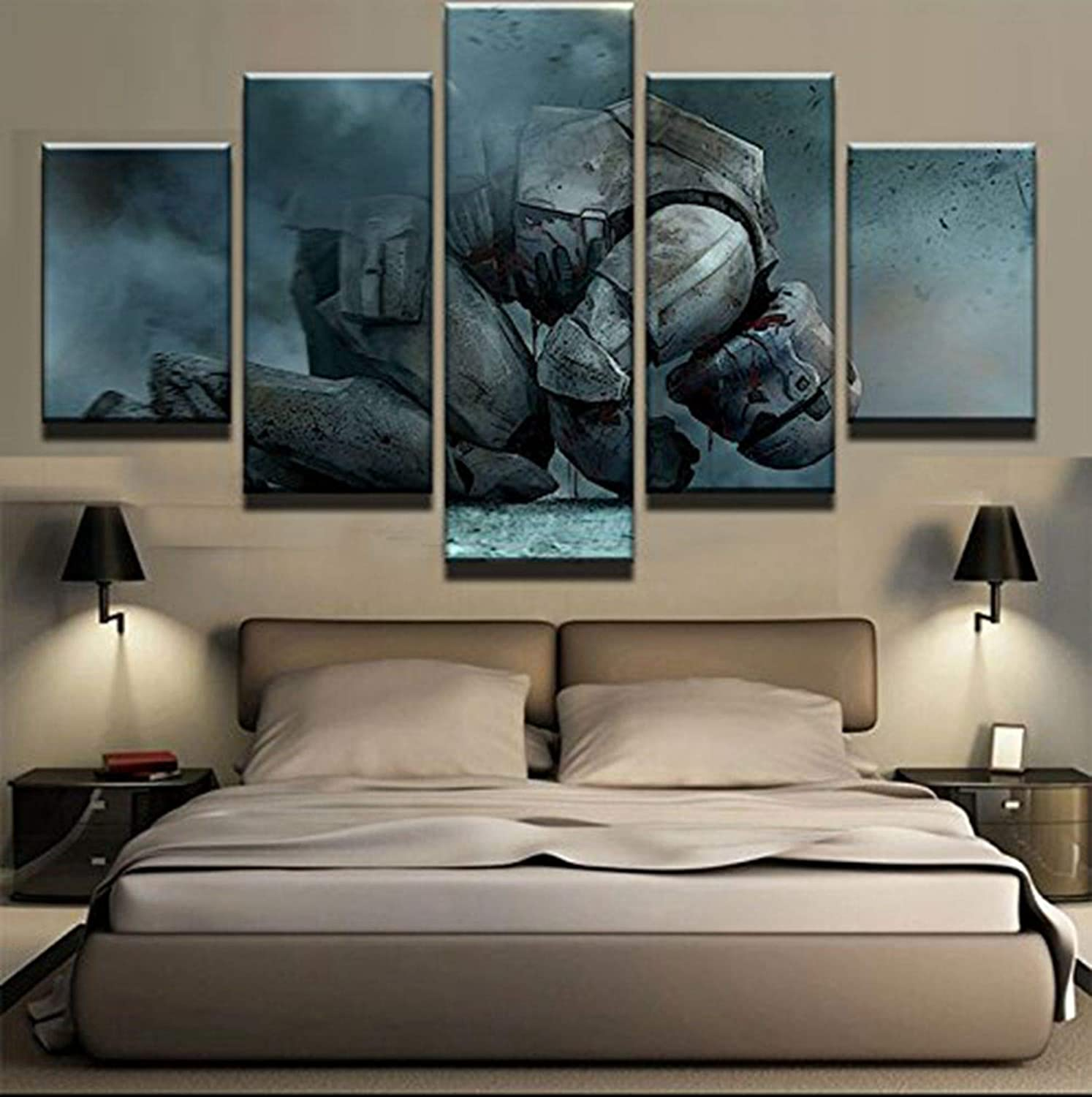 JESC 5 Panel Kneeling White Soldiers Painting Canvas Wall Art Picture Home Decor Living Room Canvas Print Modern Painting