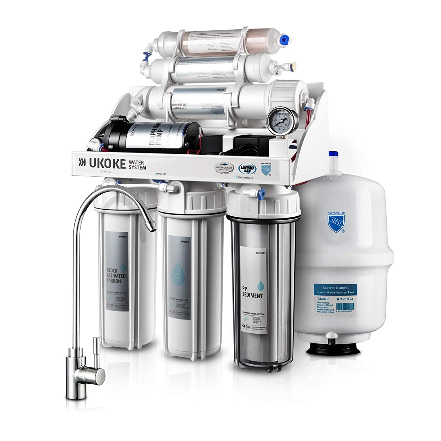 Ukoke RO75GP 6 Stages Reverse Osmosis Water Filtration System, Under Sink pH+ Alkaline Remineralizing RO filter & Softener, NSF/ANSI 58 & IAPMO Platinum Seal Certified, 75 GPD, White with Pump