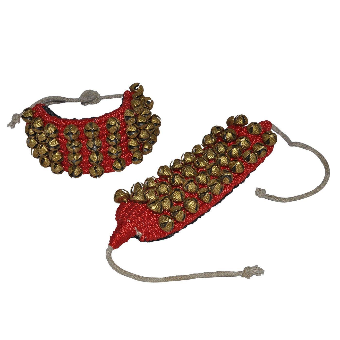 4 Line Big Bells Ghungroo Pad (Red, 16 No. Ghungroo) Ghungroo Kathak anklet women dance accessories