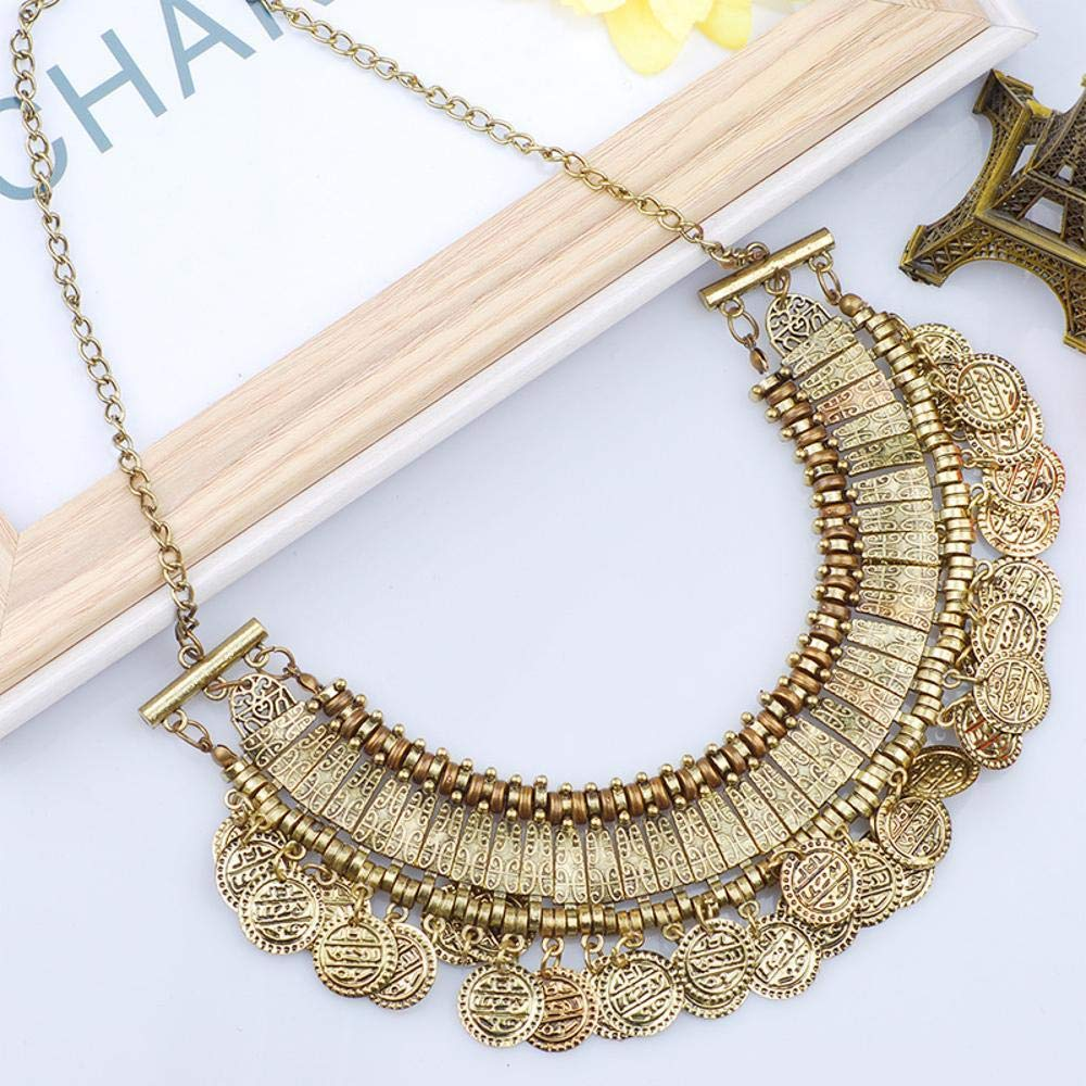 cushang Mens Pendant Antique Carved Alloy Diamond Coin Fringed Alloy Necklace Ribbon Long 45cm+5cm Extension Chain