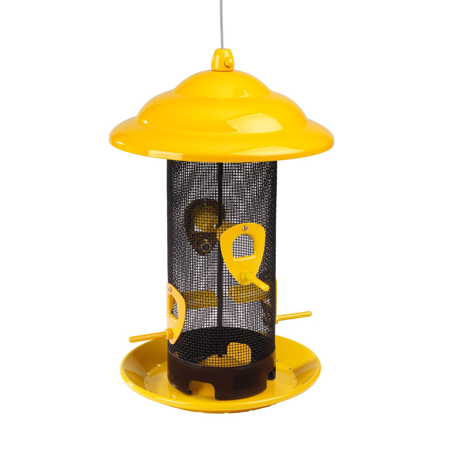 Stokes Select Sedona Screen Feeder, 4 Feeding Ports, 2.6 Pounds Bird Seed Capacity, Yellow
