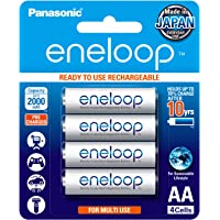 Panasonic BK-3MCCE/4BN eneloop AA 2100 Cycle Ni-MH Pre-Charged Rechargeable Batteries, 4 Pack