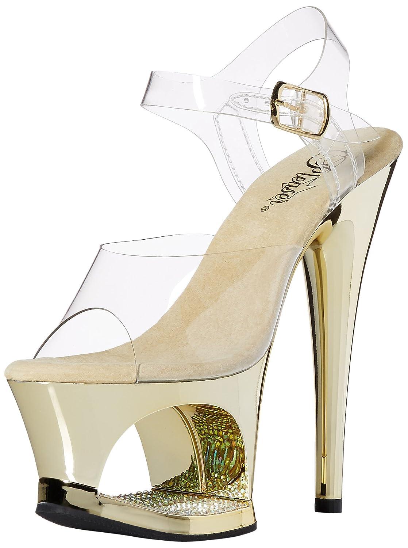 Pleaser Women's MOON708DMCH/C/G Platform Dress Sandal B00B472EXY 7 B(M) US|Clr/Gold Chrome