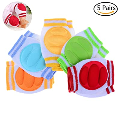 7thLake 5 Pairs Baby Knee Pads Elastic Knee Elbow Pads for Crawling Adjustable Waterproof Safety Protector, Random Colors