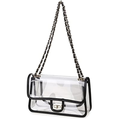 Lam Gallery Womens Clear Handbag Purses NFL Stadium Approved Clear Bag for  Football Games Turn Lock 85c8981ad4157