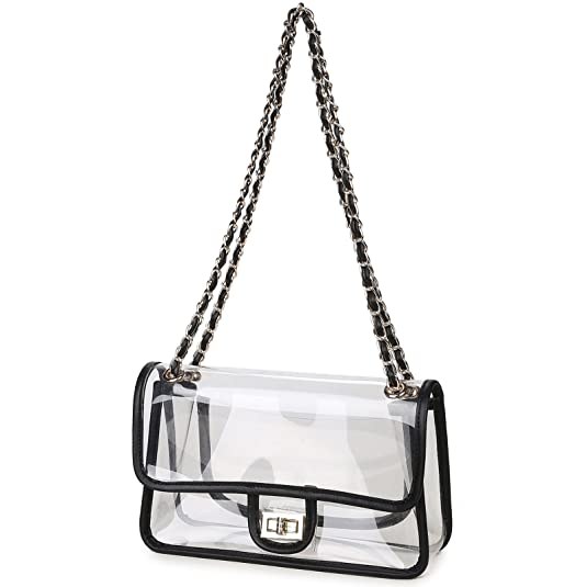 f218b7e871e0 Lam Gallery Womens Clear Handbag Purses NFL Stadium Approved Clear Bag for  Football Games Turn Lock Chain Shoulder Crossbody Bags Transparent PVC  Vinyl ...