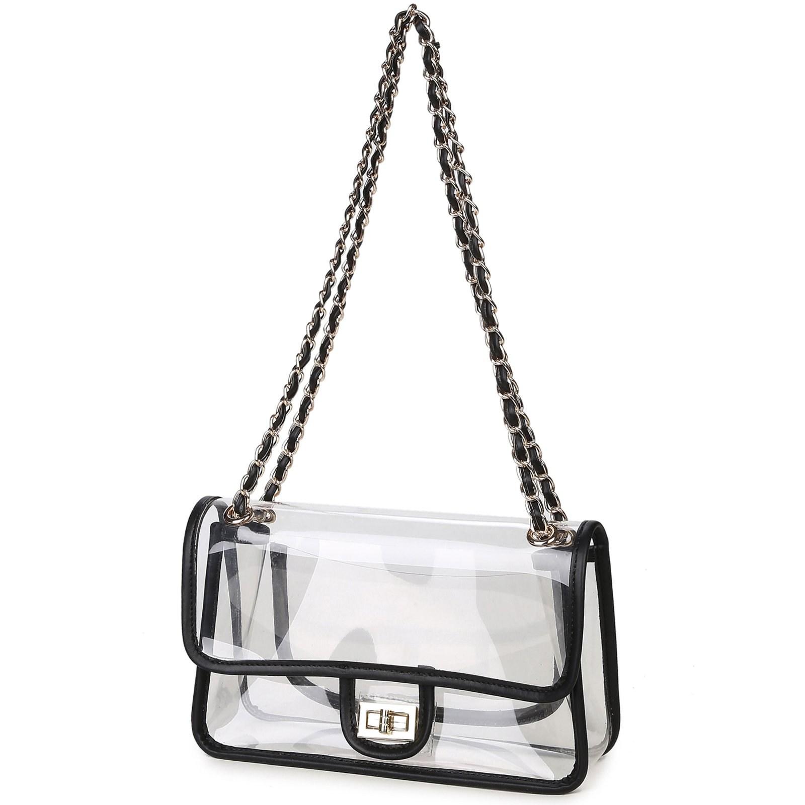 LAM GALLERY Womens Clear Handbag Purses NFL Stadium Approved Clear Bag for Football Games Turn Lock Chain Shoulder Crossbody Bags Transparent PVC Vinyl Plastic Bag See Through Bag for Work Black