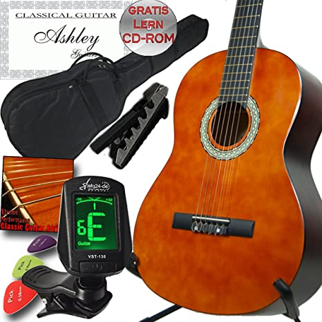 Ashley Natural Guitarra Classic, con funda, afinador, Capo ...