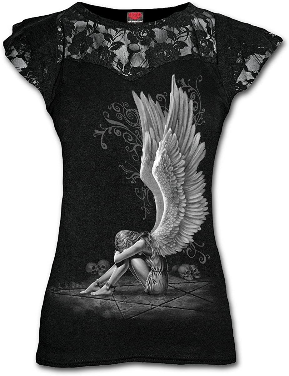 Taglia Produttore: Small Donna Spiral Direct Enslaved Angel-Lace Layered cap Sleeve Top T-Shirt 40 Nero Black 001