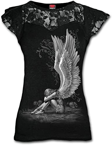 Rock Clothing Spiral Direct ENSLAVED ANGEL Womens Lace Layered Long Sleeve Top