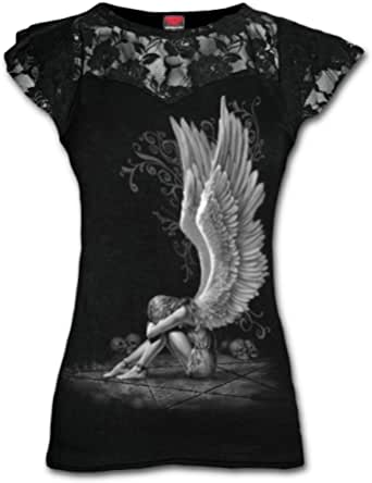 Spiral Direct Enslaved Angel - Lace Layered Cap Sleeve Top Black Camiseta Mujer