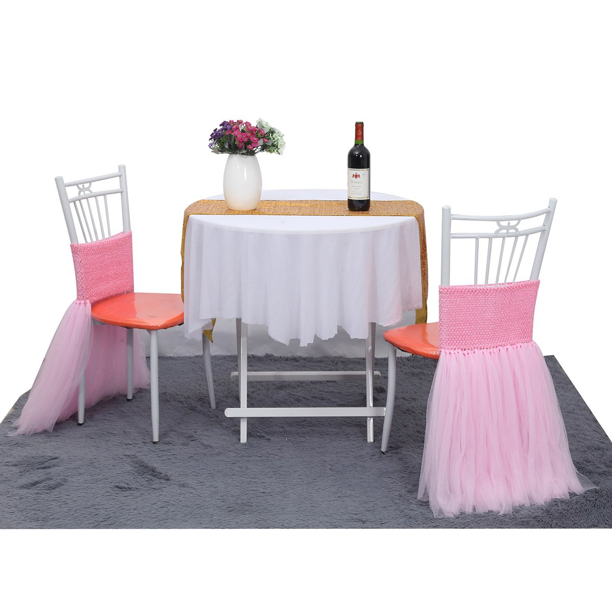 Suppromo Fluffy Tutu Chair Skirt For Party,Wedding,Birthday Party&Home Decoration (Pink)