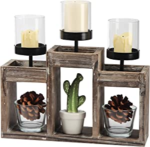 J JACKCUBE DESIGN - Rustic Wood Decorative Candle Holder Centerpiece, 3 Glass Votive Cups On Wood Base/Tray for Dining Room Table & Coffee Table Decor -MK586A