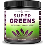 Super Greens Antioxidant Superfood Powder - Organic Green Veggie & Fruit Whole Foods for Immune System Support - Wheat Grass,
