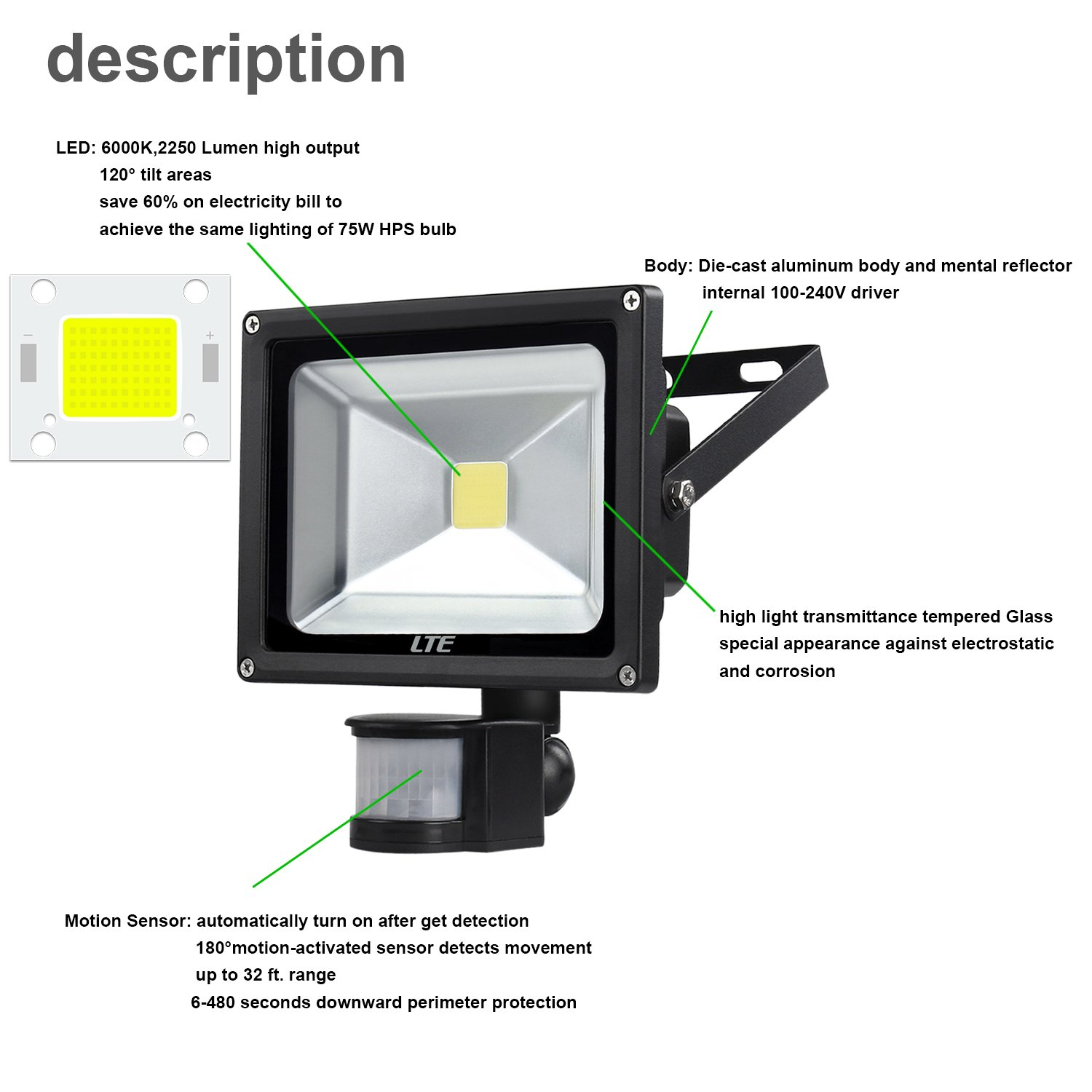 71YNDD6UdzL._SL1500_ led motion sensor flood light, lte 30w led security light outdoor Motion Sensing Light Schematic at soozxer.org