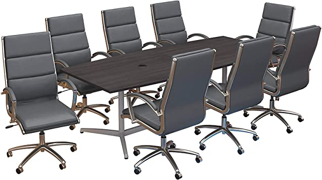 Bush Business Furniture 96w X 42d Boat Shaped Conference Table With Metal Base And Set Of 8 High Back Office Chairs In Storm Gray Furniture Decor