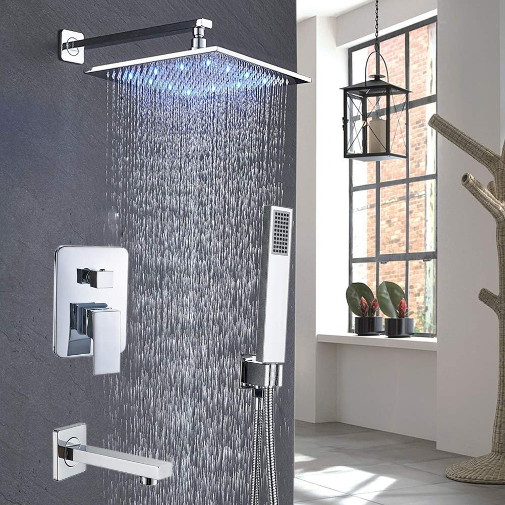 Votamuta Wall Mounted 12 LED Light Shower Head New Bathroom Rainfall Shower Faucet System Single Handle 3 Way Mixer Valve with Hand Sprayer Head and Tub Spout, Brushed Nickel Finish