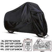 anftop Bâche pour moto imperméable anti-poussière 210d tissu Cache Scooter langes Motocycle Housse pour moto portable sac anti UV respirant universel pour intérieur extérieur, xL xXL xXXL xXXXL noir 3XL(265*105*125cm)