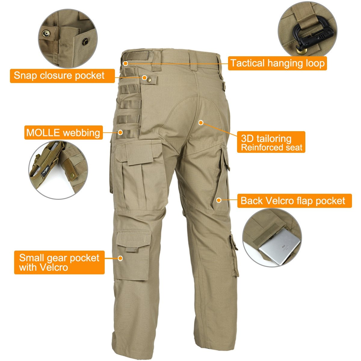 d43a8951c557 Amazon.com   FREE SOLDIER Outdoor Men Multi Pockets Tactical Pants Cargo  Pants   Sports   Outdoors